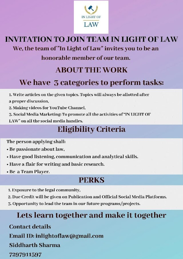 "OPPORTUNITY TO JOIN THE TEAM OF ""IN LIGHT OF LAW"""