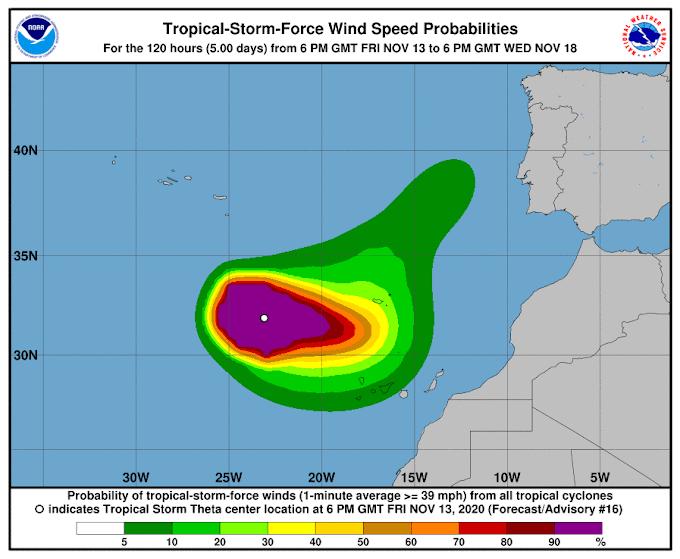 Ponto da situação da tempestade Theta (23:00)