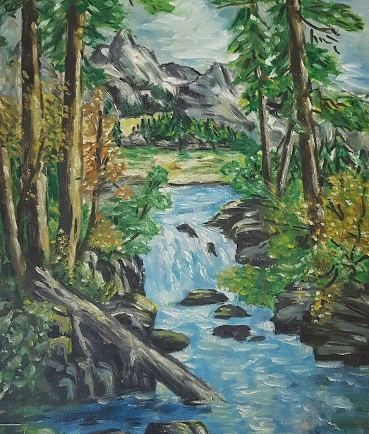 Rushing Mountain Waters Vintage Oil Painting Donalee Forbes