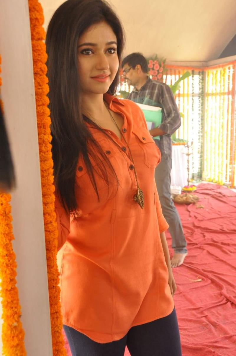 Beautiful Telugu Girl Poonam Bajwa Long Hair In Orange Dress