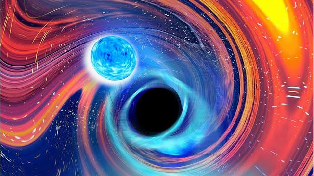 Ilustração artística de uma estrela de Nêutrons caindo em um Buraco Negro - CARL KNOX - OZGRAV