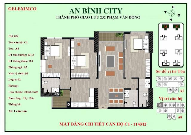 Mặt bằng thiết kế căn hộ C1 - 114m2 An Bình City