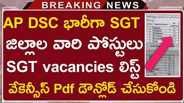 AP DSC District wise vacancies List 2021 | AP DSC SGT Vacancies List pdf
