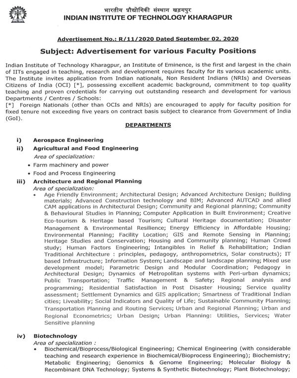 IIT Kharagpur Biotech Faculty Job Openings 2020 September