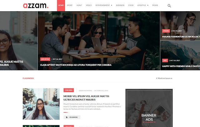 Azzam Responsive Magazine News Personal Simple Blogger Template Theme