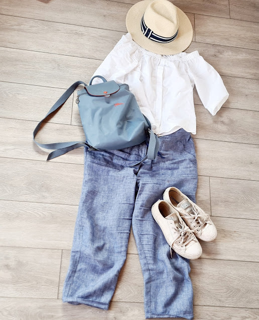 staycation outfit ideas, holiday outfit inspiration, linen trouser outfit, travel outfit