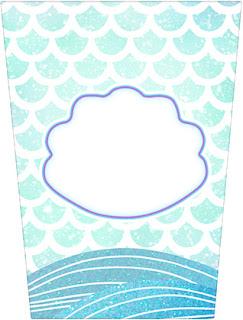 Mermaid: Free Printable Candy Bar Labels.