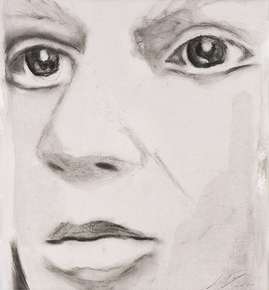 Luc Tuymans Facial Reconstruction, 2020 charcoal and watercolour on paper 32 x 29 cm