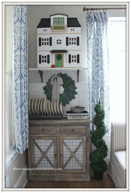 Breakfast -Nook- Makeover-Dollhouse-Cottage-Farmhouse-DIY-Wainscoting-Blue & White Decor-Emma Bridgewater-Magnolia Home-From My Front Porch To Yours