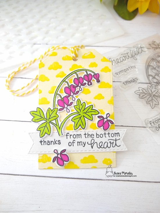 Thanks from the bottom of my heart by Diane features Bleeding Heart, Fancy Edges Tag, Petite Clouds, and Banner Trio by Newton's Nook Designs; #newtonsnook, #inkypaws, #thankyoucards, #tags