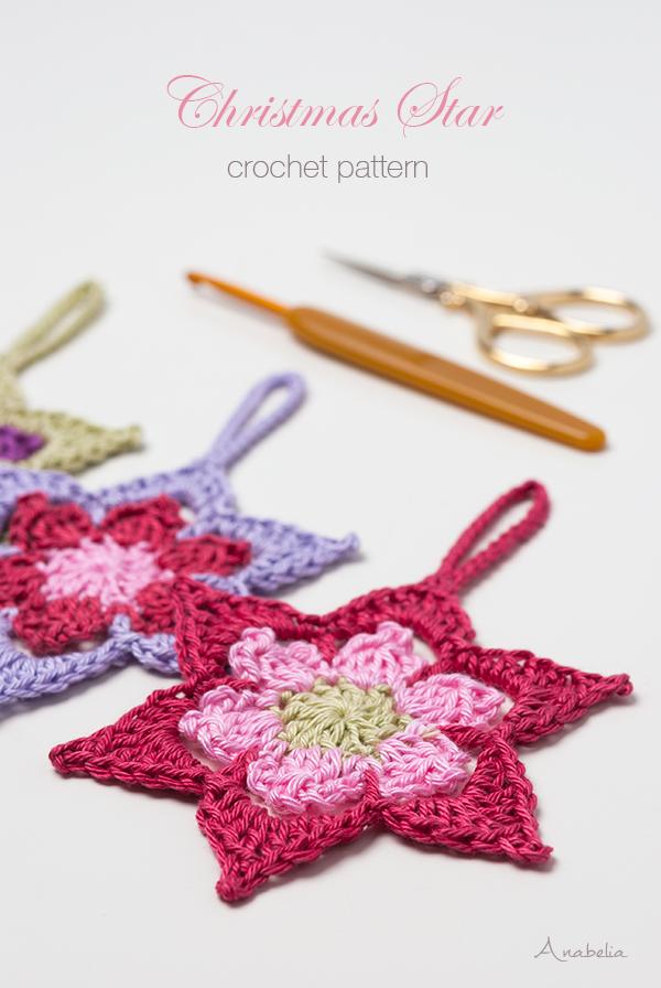 Christmas crochet star ornament pattern, Anabelia Craft Design