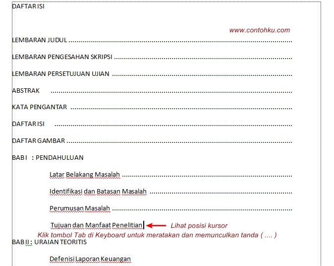 Gambar tutorial cara membuat daftar isi di microsoft word 2007