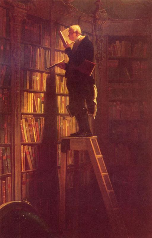 Carl Spitzweg, lesen, Bücher, Wahn, Wissensdurst, die Zeit, das alter, weisheiten, geschichten, paintings, malerei, bild, poetische Art