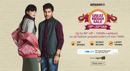 Amazon great Indian sale on various clothing brands and fashion products.