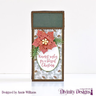 Custom Dies: Treat Tower, Pierced Ovals, Peaceful Poinsettias, Pine Branches, Stamp/Die Duos: Deer Ornament, Paper Collection: Rustic Christmas