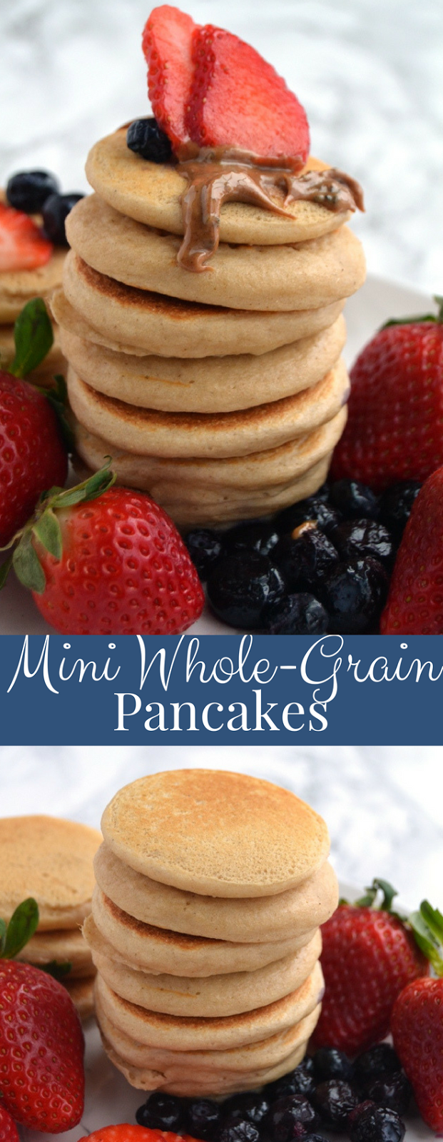 Mini Whole-Grain Pancakes are easy to make and nutritious! Make a large batch and freeze for easy breakfasts and snacks for toddlers! Gluten-free and made with oats. www.nutritionistreviews.com