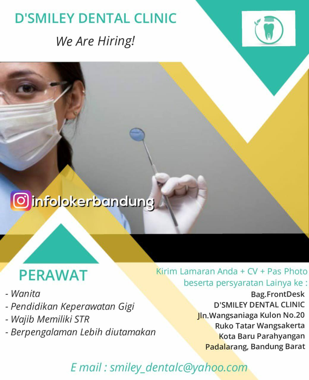 Lowongan Kerja Sebagai Perawat D'Smiley Dental Clinic Bandung Mei 2018