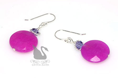 Crystal Fuchsia Dyed Jade Gemstone Beaded Earrings (E274-F)