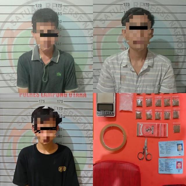 Satres Narkoba Polres Lampung Utara Kembali Ciduk Tiga Orang Terduga Penyalahguna Narkoba
