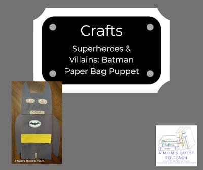 Batman paper bag and A Mom's Quest to Teach logo