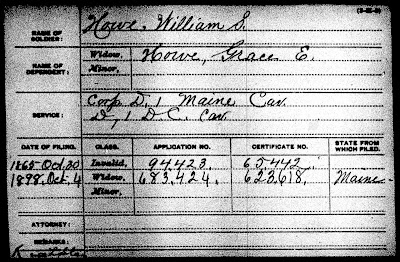 """U.S., Civil War Pension Index: General Index to Pension Files, 1861-1934,"" database and images, Ancestry.com (http://www.ancestry.com/ : accessed 29 Dec 2016); card for William S Howe."