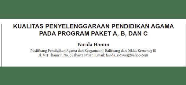 Kualitas Penyelenggaraan Pendidikan Agama pada Program Paket A, B, dan C