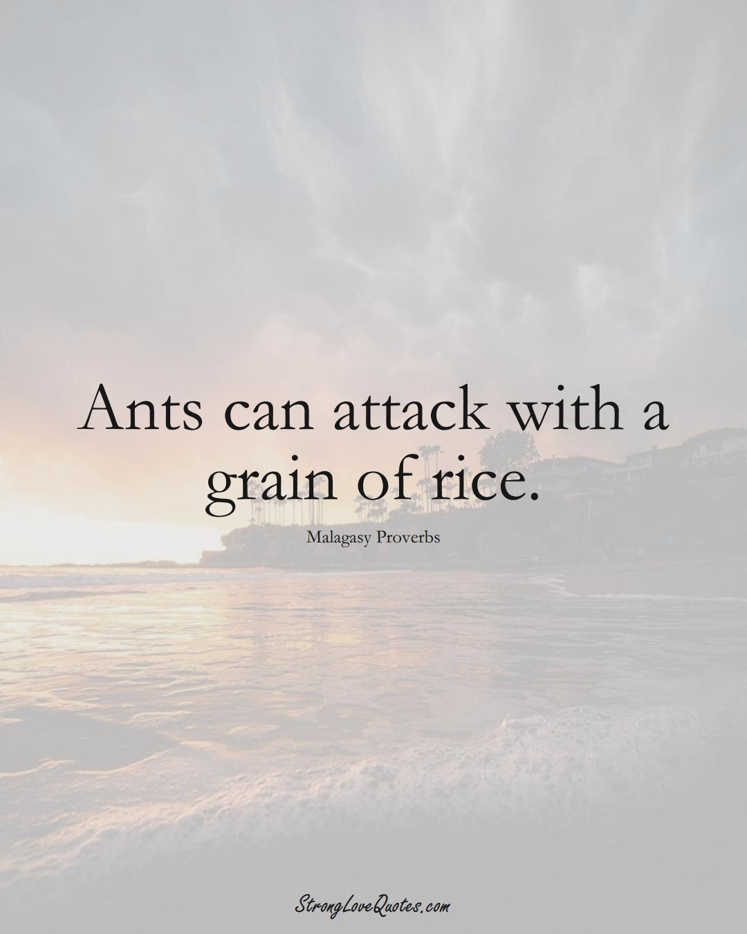 Ants can attack with a grain of rice. (Malagasy Sayings);  #AfricanSayings