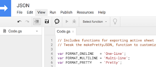 Screenshot of Google Apps Script editor with code inside it