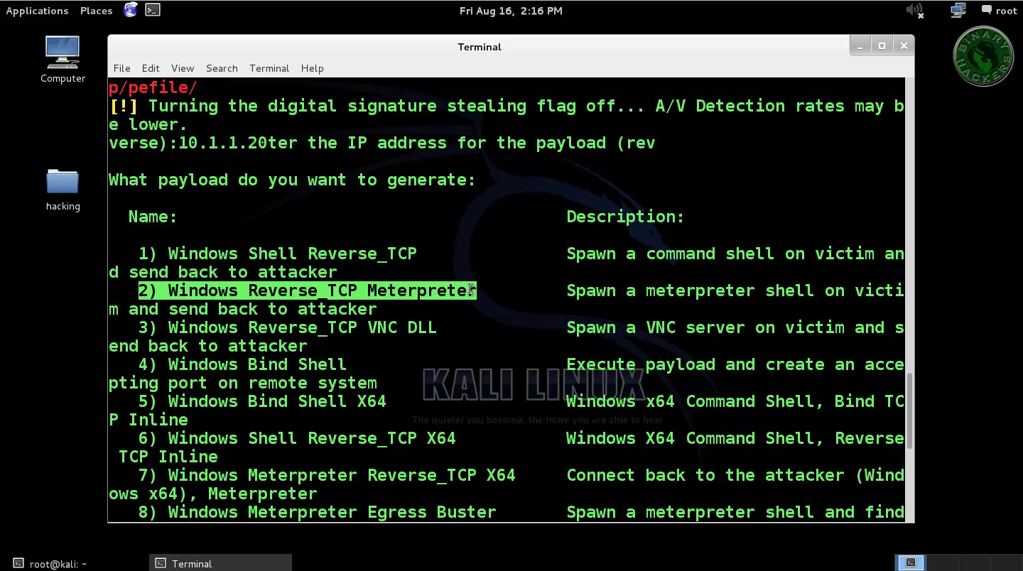 Kali Linux - Create Payload and Listener - binary hackers