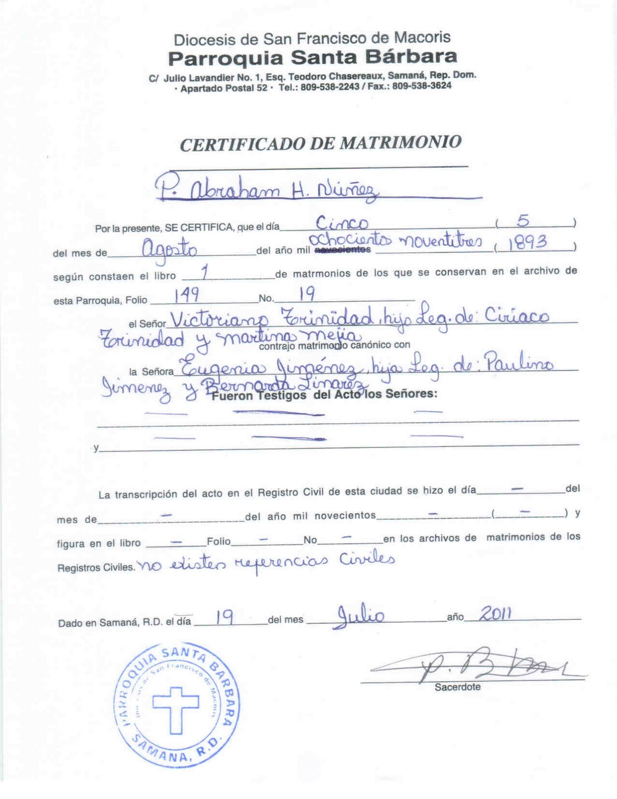 Certificado De Matrimonio Catolico : Mi pais acta de matrimonio victoriano y felipe