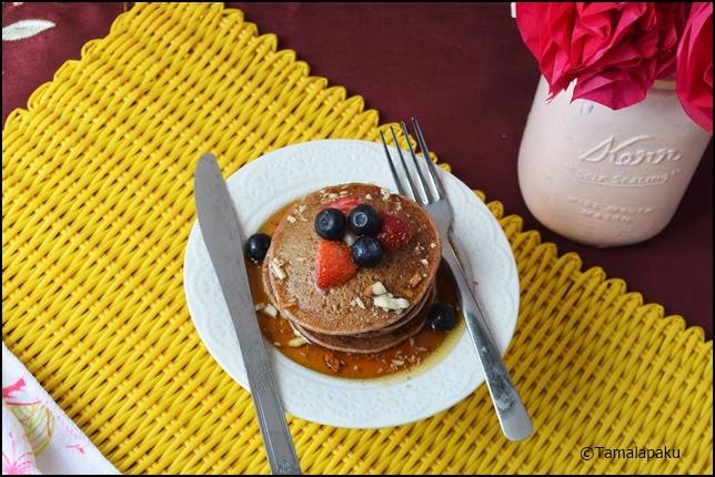 Eggless Ragi Banana Pancakes