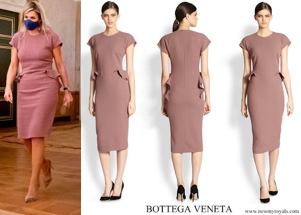 Queen Maxima wore Bottega Veneta Natural Ruffled Wool Crepe Dress
