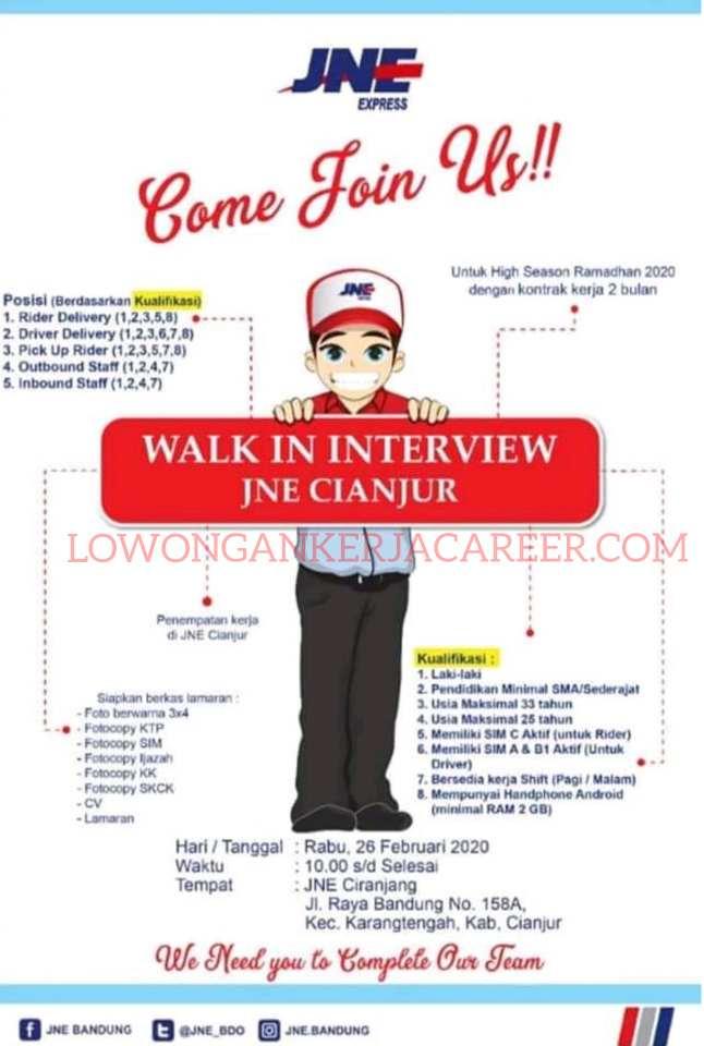 Lowongan Kerja Jne Express 2020 Area Cianjur Lowongankerjacareer Com