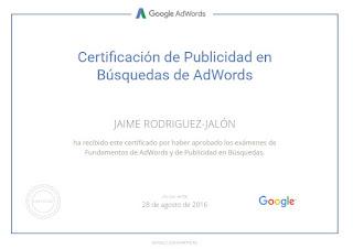 Certificado Jaime Rodríguez-Jalón y Olea Google AdWords Fundamentals