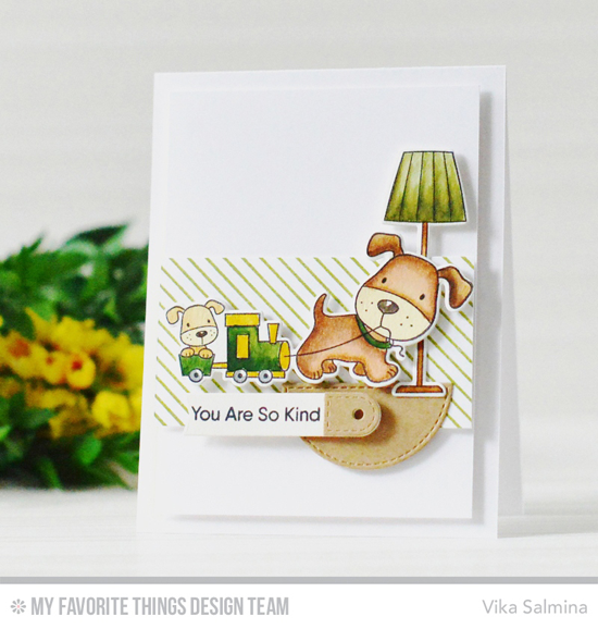 Handmade card from Vika Salmina featuring Playful Pups and Birdie Brown Our Story stamp sets and Die-namics, Diagonal Stripes Background stamp, and Tag Builder Blueprints 6 Die-namics #mftstamps