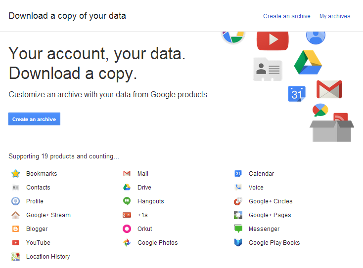 Download All Google Data Creating Archive