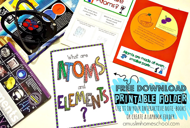 Free to download and print, interactive lapbook folder all about Atoms and Elements
