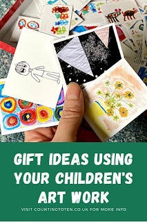 Gift ideas using your children's art work including a photo memory game