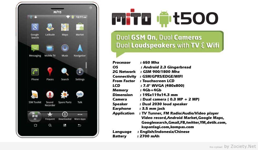 Update Informasi Hp Ponsel Gadget Laptop Terbaru Mito T500
