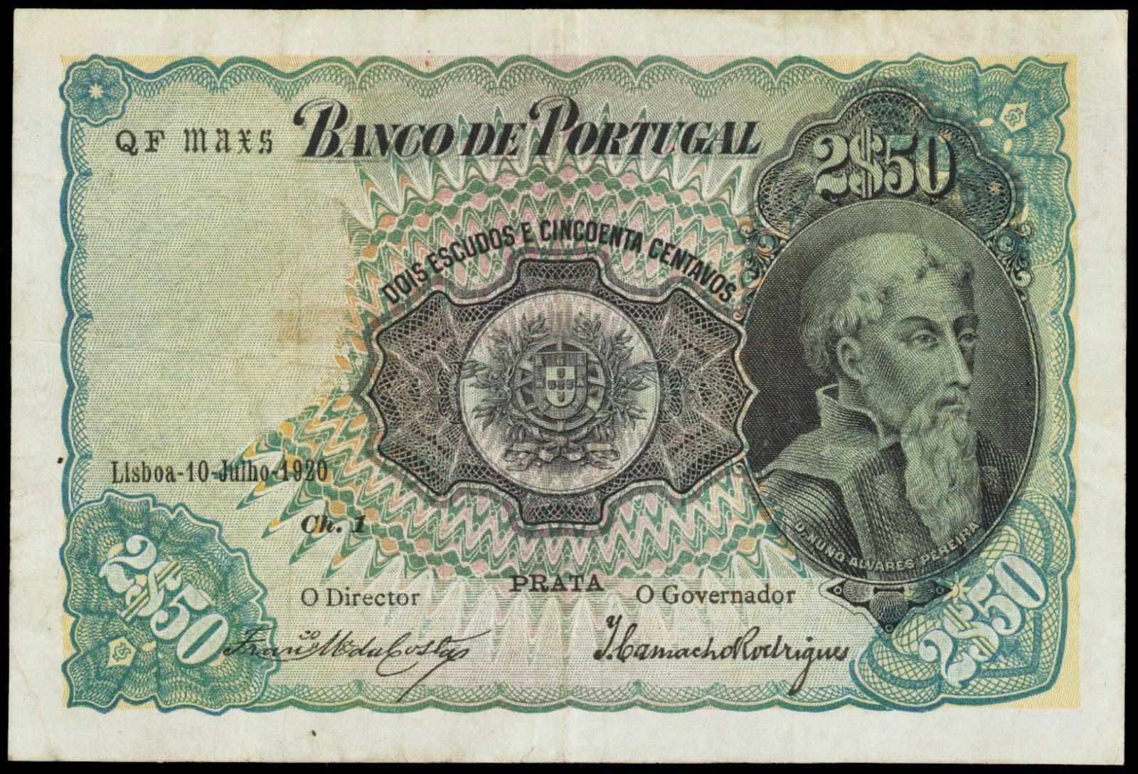 Portugal banknotes 2 Escudos 50 Centavos 1920 Nuno Alvares Pereira