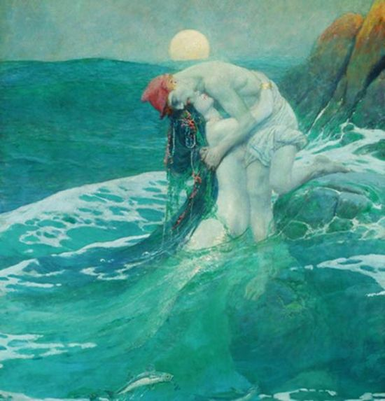Splendida rappresentazione di una sirena di Howard Pyle.