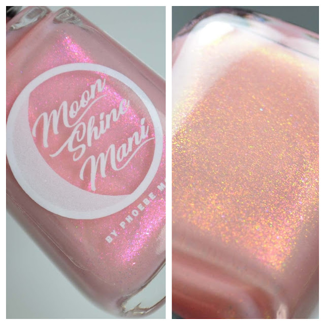 pink shimmer nail polish in a bottle