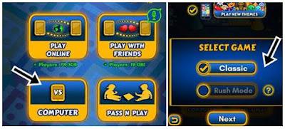 computer par click classic ya rush mode select kare
