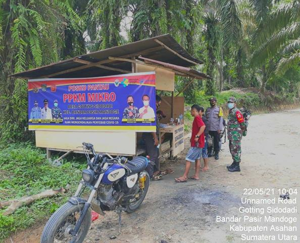 Jaga Wilayah Dari Covid-19, Personel Jajaran Kodim 0208/Asahan Laksanakan Pemantauan/Pengecekan Di Posko PPKM  MIKRO