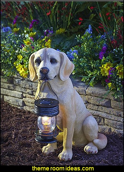 Solar Powered Lab With Lantern garden decor ideas decorating the garden  - decorative garden accents -  Outdoor Decor - garden ornaments  - garden decorations - patio and garden decor -  novelty Yard & Garden decor  - fairy garden - Decorate the Patio - gifts for the home gardener  - Patio Decor - garden patio furniture - faux plants -