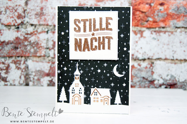 Stampin Up Bente Stempelt Wie ein Weihnachtslied Stille Nacht Weihnachten daheim Framelits Winterstädtchen Mond Sterne Kirche Dorf Häuser DSP Papier Frohes Fest