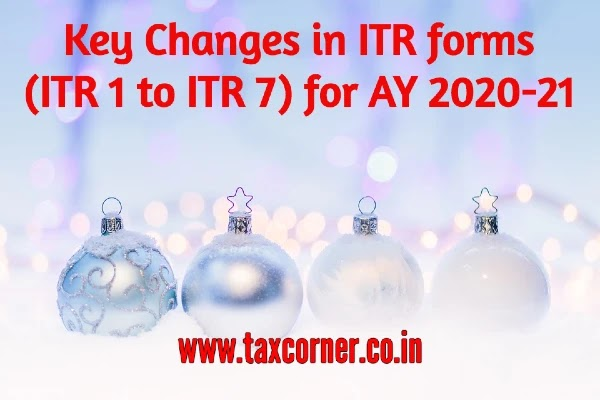 Key Changes in ITR forms (ITR 1 to ITR 7) for AY 2020-21
