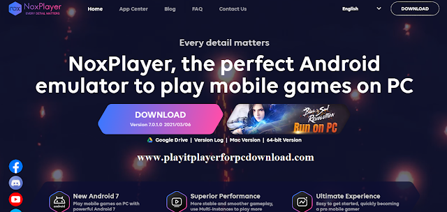 Nox App Player Software from its official website.