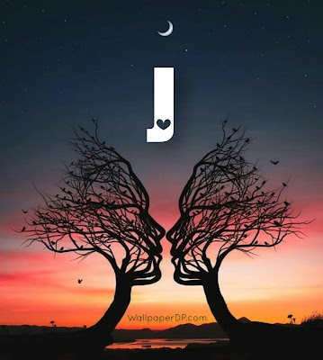 Stylish A to Z Alphabet Dpz with Romantic Trees view and Moon