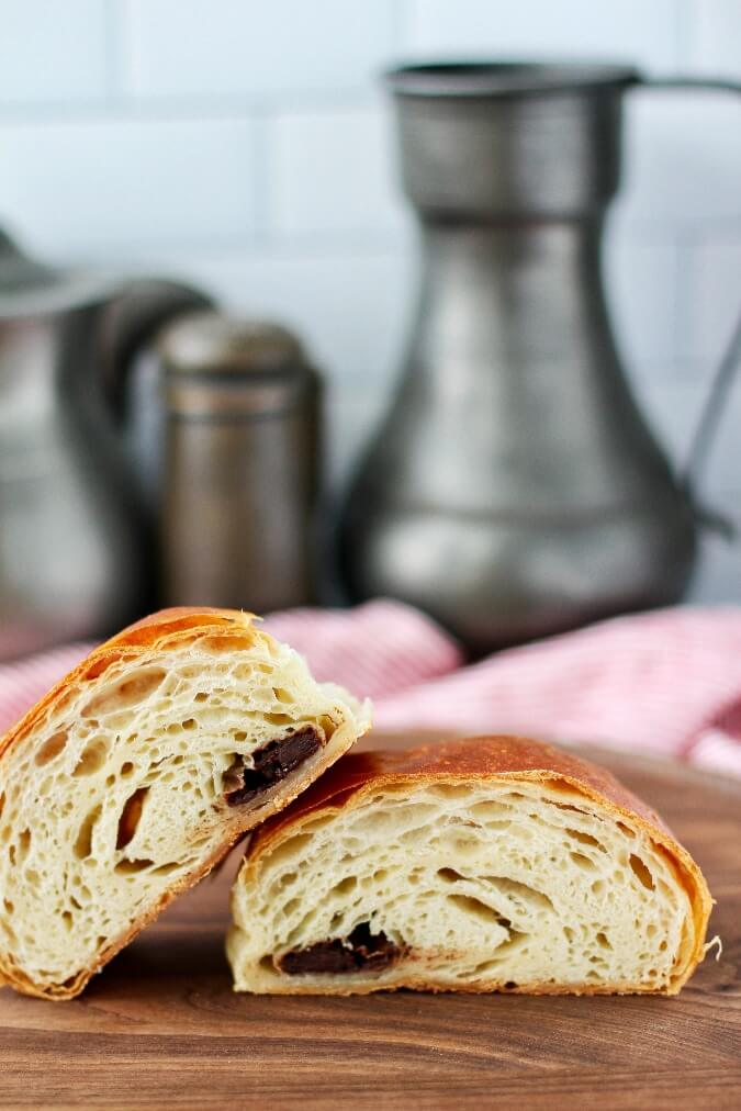 Chocolate Croissants sliced